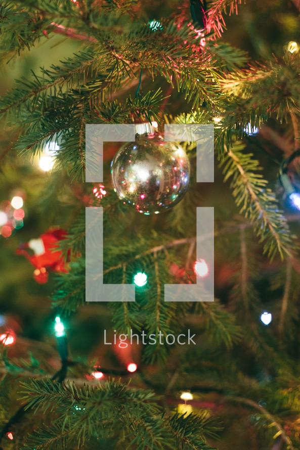Christmas lights and ornaments on a Christmas tree