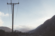 power lines and mountains