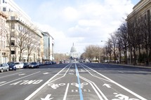 road and bike lanes leading to the US Capitol