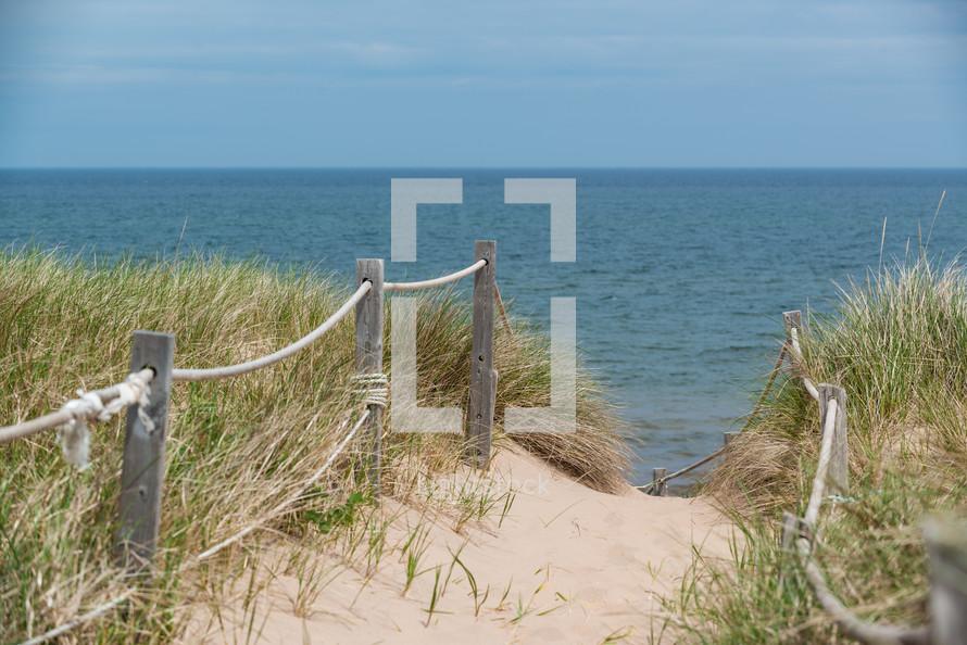 public access, path, fence, dunes, sea grasses, beach, sand, outdoors, coast