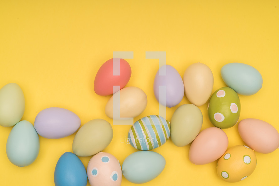 yellow background with Easter eggs