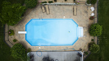 an empty swimming pool from above.