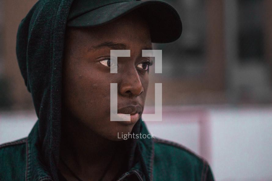 face of a teen boy