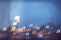 music note bokeh lights