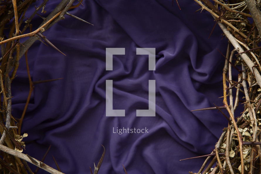a crown of thorns on purple fabric