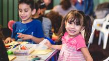 kids coloring in a church nursery