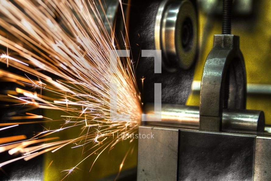 Sparks in a machine shop.