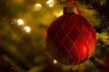 Christmas ball ornament on a Christmas tree