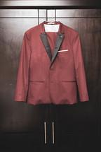 red tuxedo hanging