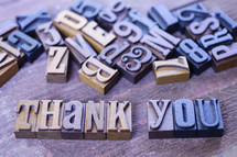 thank you and wooden letter stamps