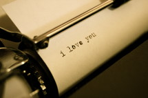 I love you on a typewriter