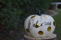 welcome on a spotted pumpkin