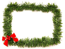 red bow on a garland border