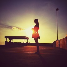 silhouette of a cheerleader