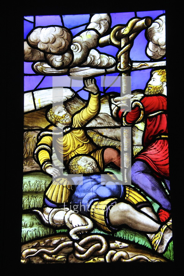 Stained glass window of Moses, serpents bronze snake, biblical scene, biblical figures