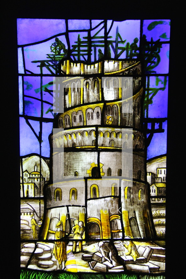 stained glass window, tower of Babel