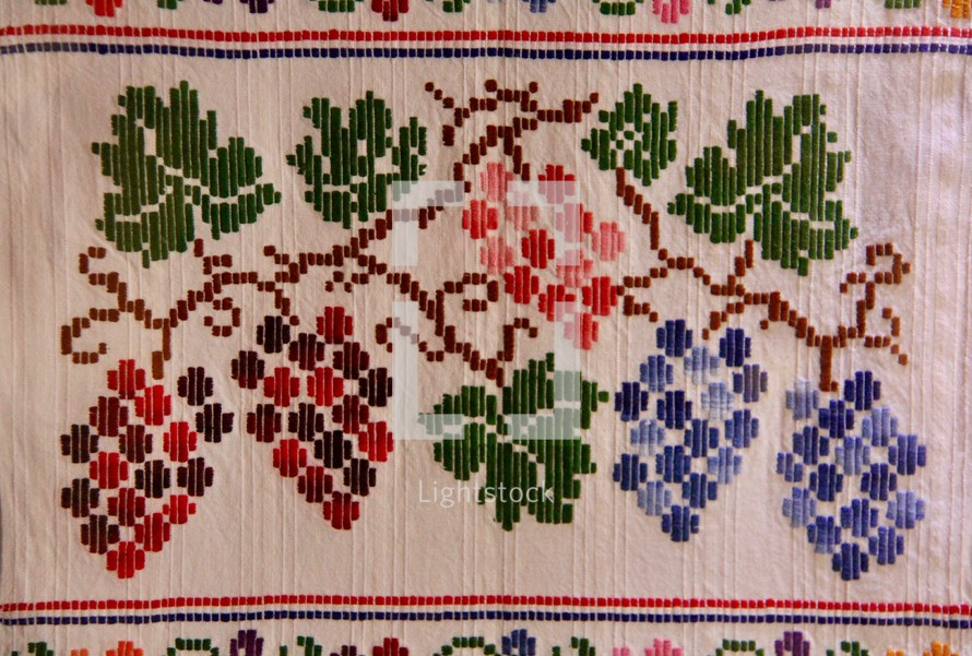 grapes embroidered on linen