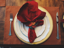 napkin on a place setting for Thanksgiving dinner