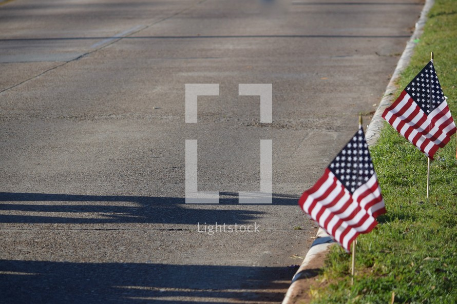 American flags along a curb of a street