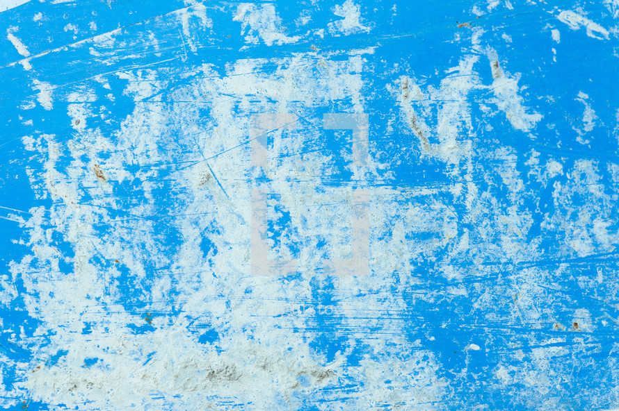 Bright sky blue surface, streaked with white and scratchy.