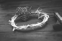 heart, three nail spikes and crown of thorns