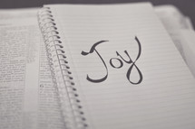 word Joy on a notebook on the pages of a Bible