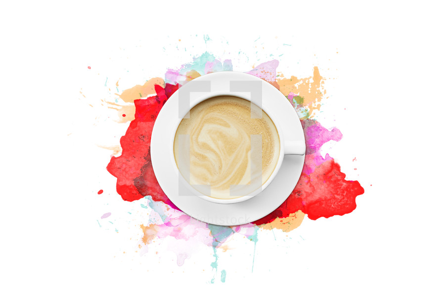 coffee mug and watercolor background