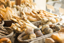 baskets of bread in a bakery