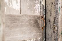 door pull on a weathered door