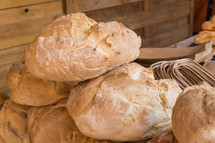 Rustic bread loaves on a market stall Badajoz