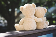 teddy bears with arms around each other