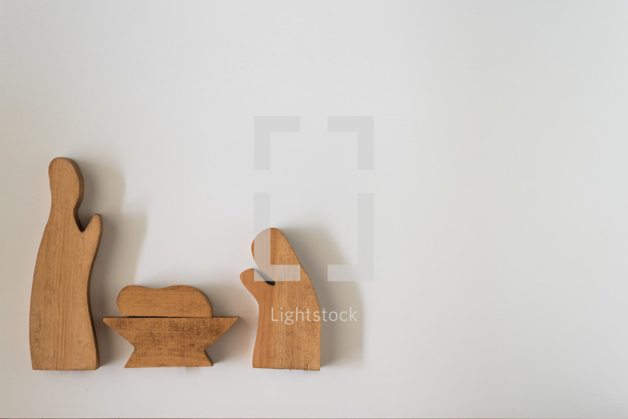 wooden holy family figurines