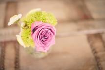 pink rose in a vase