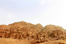 City of Petra carved from red rock in Jordan