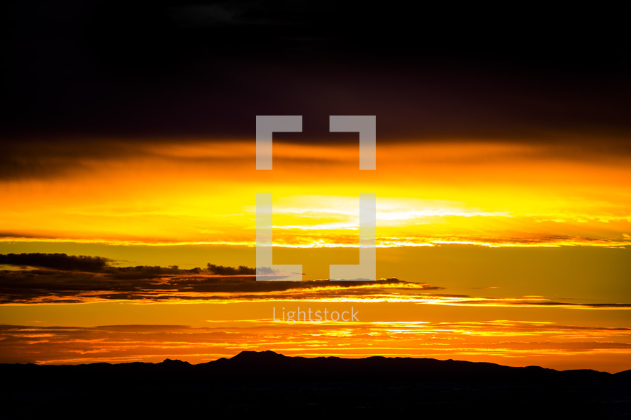 yellow glow at sunset