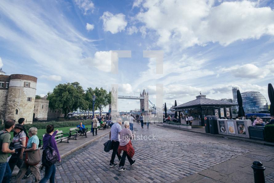 pedestrians and London Bridge