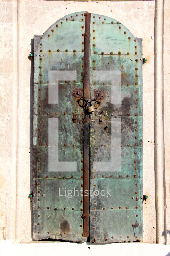 locked metal doors