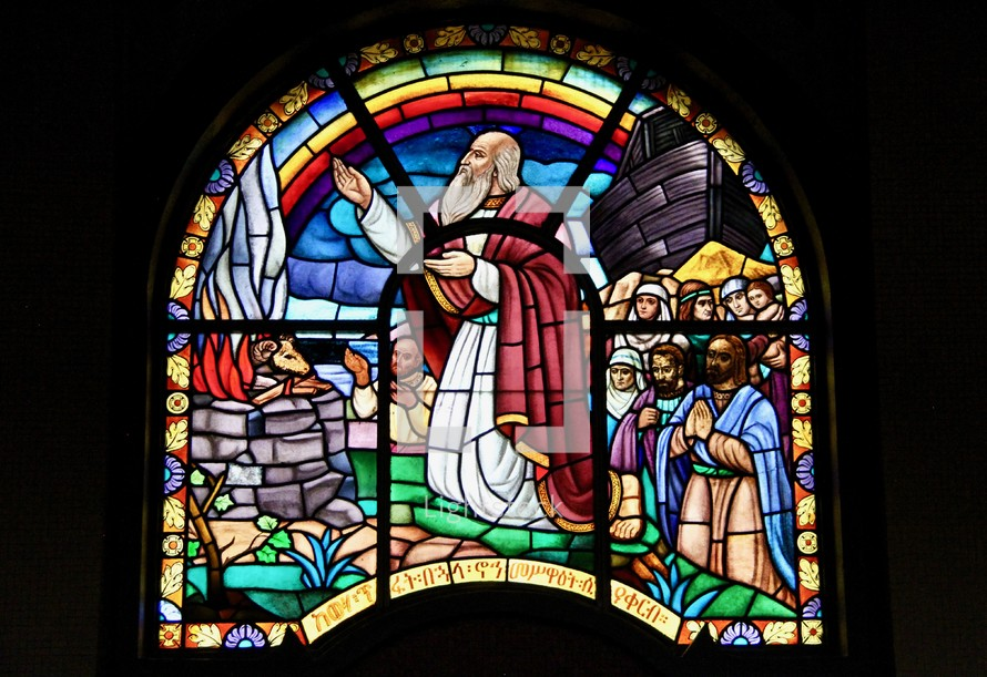 Noah's Ark stained glass window