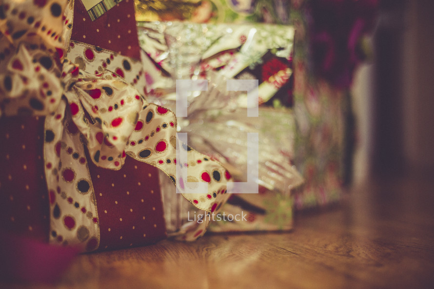 Wrapped Christmas presents.
