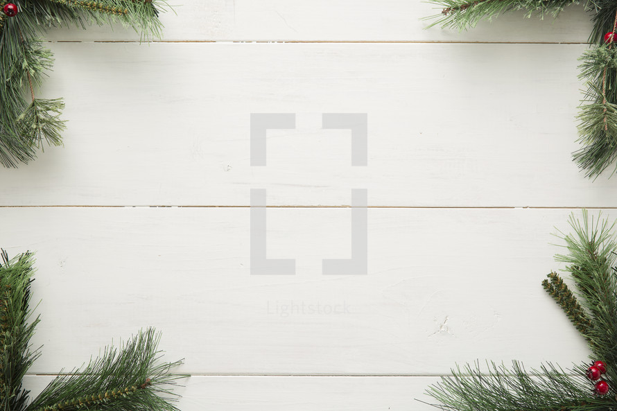 pine garland border on white wood.