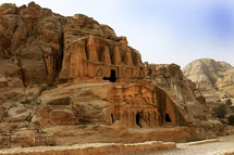 City of PETRA carved from rock in Jordan