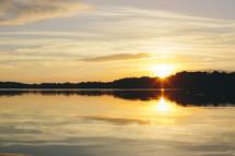 a lake at sunset