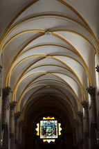 arched ceiling painted with gold