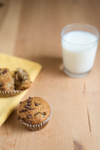 chocolate chip muffins and milk in a glass