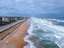 ocean front road and shoreline