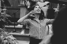 dancing in praise during a worship service