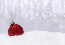red glitter ornament