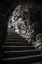 Stairs in a cave.