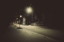 glowing street lights at night