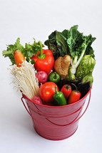 vegetables in a bucket